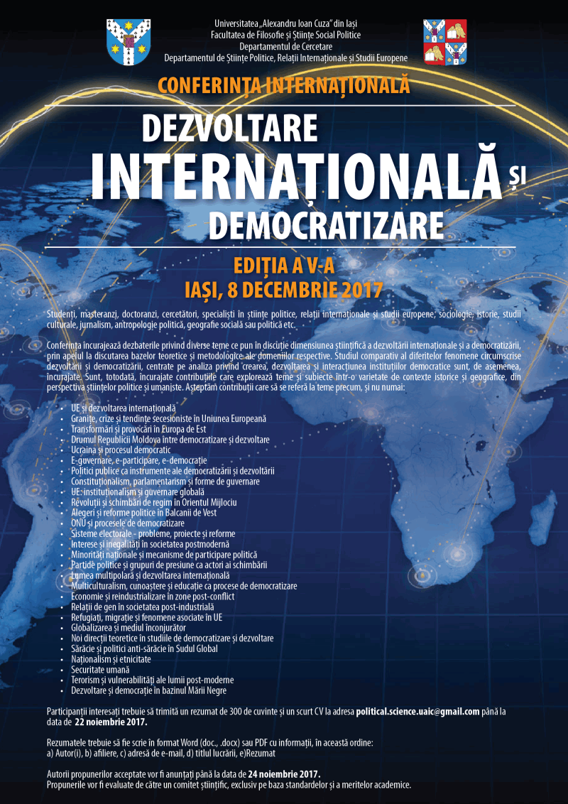 Dezvoltare internationala si democratizare Iasi Romania UAIC 8 decembrie 2017